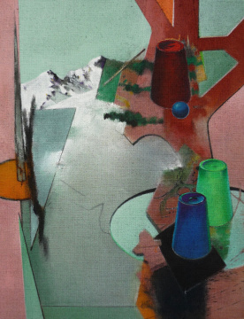 Hütchenspiel, 2010, Acryl auf Leinwand, 90 x 70 cm