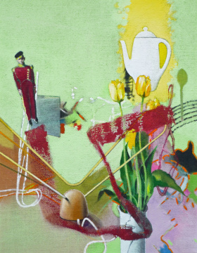 Empfang, 2010, Acryl auf Leinwand, 90 x 70 cm