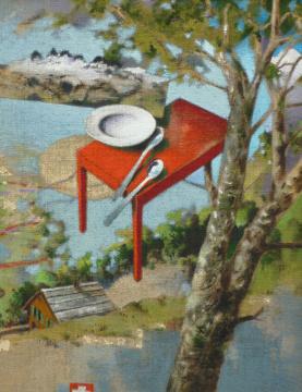 Fliegender Tisch, 2011, Acryl auf Leinwand, 70 x 55 cm