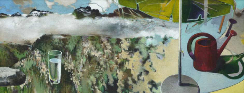 Alpenterrasse, 2011, Acryl auf Leinwand, 70 x 180 cm