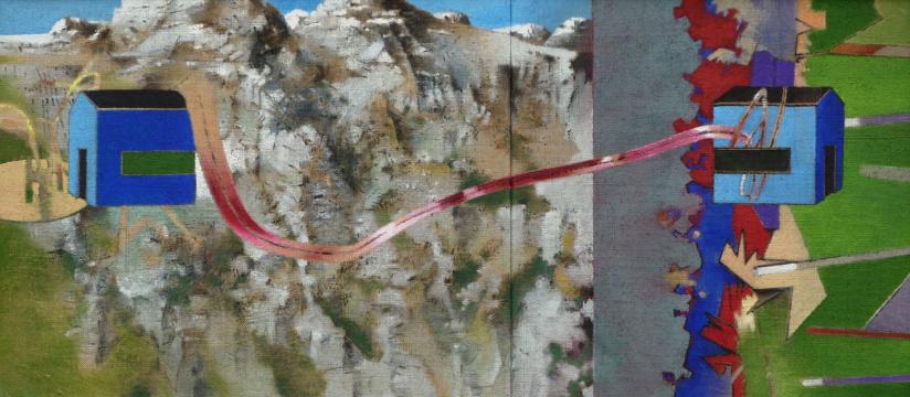 Bergtour, 2011, Acryl auf Leinwand, 55 x 125 cm