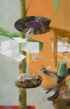 Schere, Stein, Papier, 2012, Acryl auf Leinwand, 140 x 90 cm