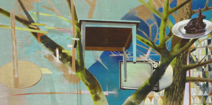 Fernsicht auf Früher, 2012, Acryl auf Leinwand, 90 x 180 cm