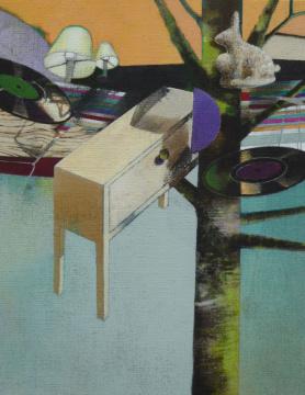 Plattenschrank, 2012, Acryl auf Leinwand, 90 x 70 cm