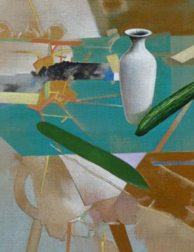 Vase I (Türkis), 2012, Acryl auf Leinwand, 90 x 70 cm