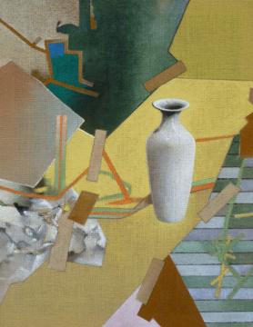 Vase II (Gelb), 2012, Acryl auf Leinwand, 90 x 70 cm