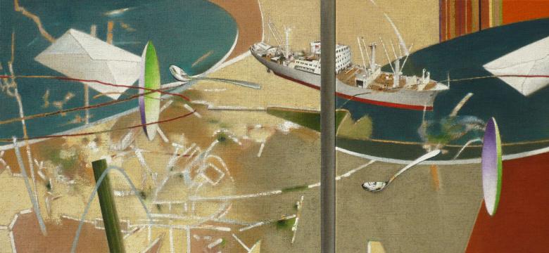 Von Tag zu Tag, 2008, Acryl auf Leinwand, 65 x 140 cm