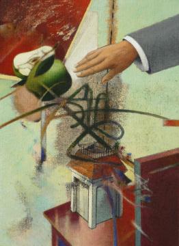 Hand (Tischgespräch), 2009, Acryl auf Leinwand, 75 x 55 cm