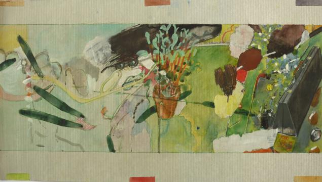 Peperomia, 2009, Gouache, Acryl und Farbstift auf Papier 21x 37,4 cm