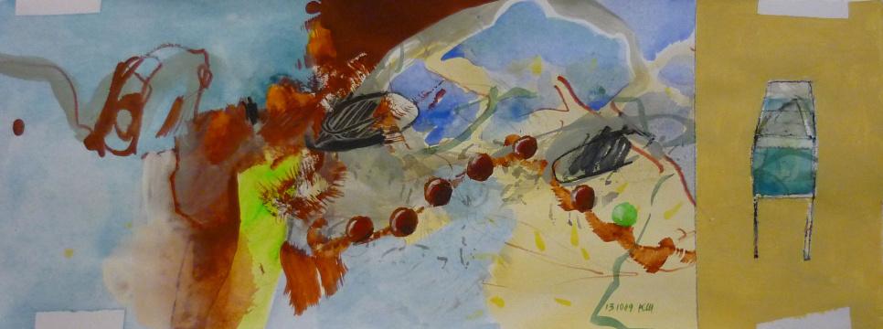 13.10.2009 / 2, Acryl, Gouache und Farbstift auf Papier, 13 x 35 cm