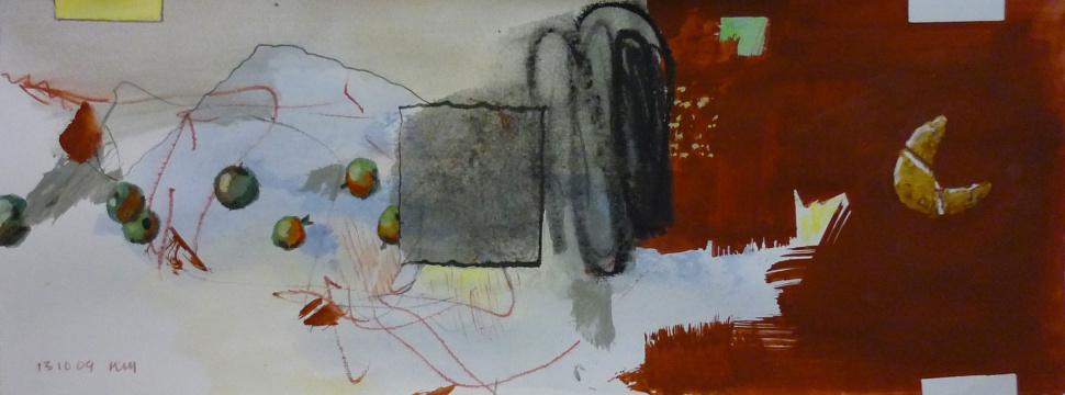13.10.2009, Acryl, Gouache und Farbstift auf Papier, 13 x 35 cm