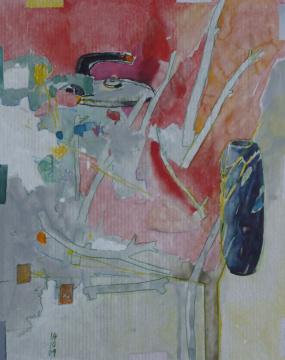 Vase, 2009, Gouache, Acryl und Farbstift auf Papier, 31x 24,7 cm