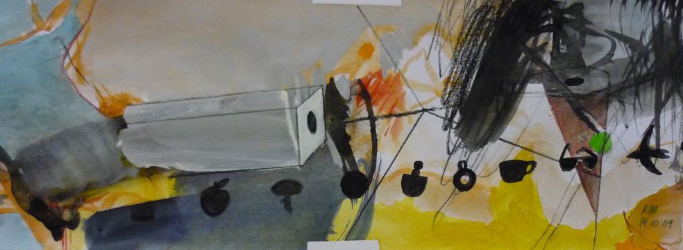 14.10.2009, Acryl, Gouache und Farbstift auf Papier, 13 x 35 cm