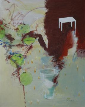 Alles klar, 2009, Acryl, Gouache und Farbstift auf Papier, 58 x 47 cm