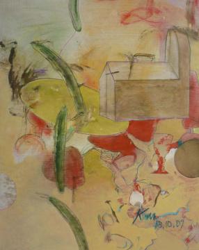 18.10.2009, Acryl, Gouache und Farbstift auf Papier, 58x 47 cm