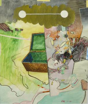 Schatz, 2009, Acryl, Gouache und Farbstift auf Papier, 30,5 x 26 cm