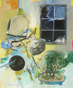 Bonsai, 2009, Acryl, Gouache und Farbstift auf Papier, 31,5 x 26,5 cm