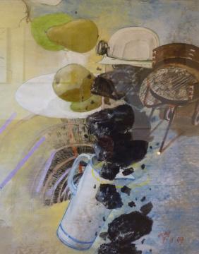 Prosper Haniel, 2009, Acryl, Gouache und Farbstift auf Papier, 58 x 47 cm