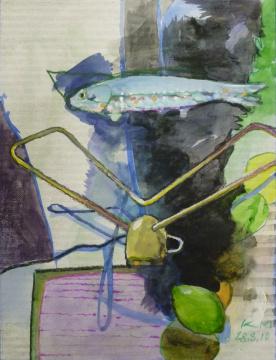 28.03.2010, Gouache, Acryl und Farbstift auf Papier, 14,7 x 11,1 cm
