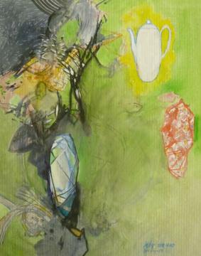 per aspera…, 2010, Gouache, Acryl und Farbstift auf Papier, 30,3 x 24 cm