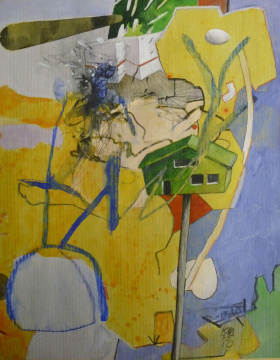 zu Überblick, 2010, Gouache, Acryl und Farbstift auf Papier, 30 x 24 cm