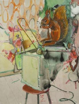 Programm, 2010, Gouache, Acryl und Farbstift auf Papier, 30 x 24 cm