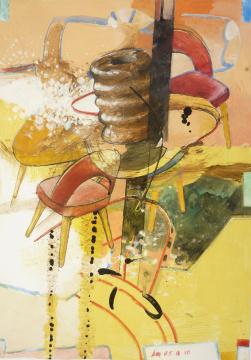 Baumkuchen, 2010, Gouache, Acryl und Farbstift auf Papier, 33 x 23 cm