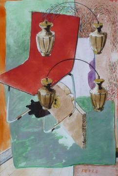Trypstuhl, 2011, Acryl, Gouache und Farbstift auf Papier, 22,9 x 15,3 cm