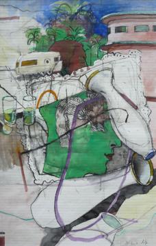 CA-Vasen, 2011, Gouache, Acryl und Farbstift auf Papier, 26,5 x 16,8 cm