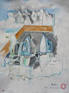 Eis-Berge, 2011, Gouache auf Papier, 33,3 x 25 cm