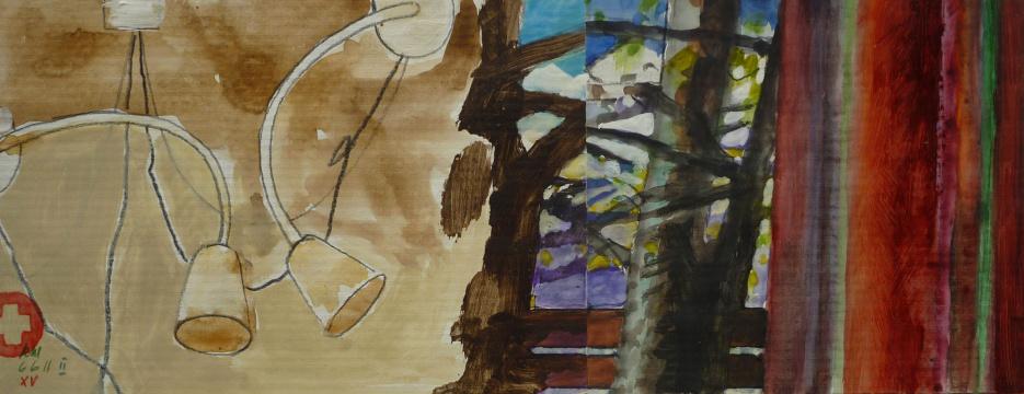 Kammer, 2011, Gouache, Acryl und Farbstift auf Papier, 12,5 x 32 cm