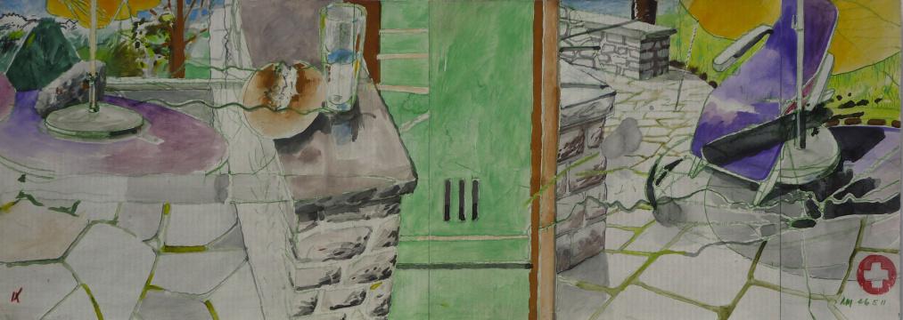 Terrasse, 2011, Gouache, Acryl und Farbstift auf Papier, 16,6 x 46 cm