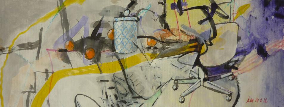 Sequenz, 2012, Gouache, Acryl und Farbstift auf Papier, 11,8 x 30,5 cm