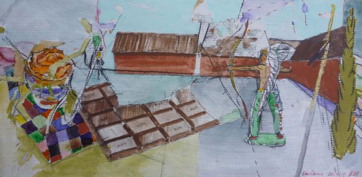 Die Übung, 2012, Acryl, Gouache und Farbstift auf Papier, 23,2 x 46,8 cm