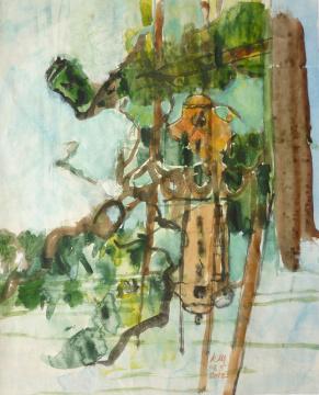 zu Niederrhein I, 2012, Gouache, Acryl und Farbstift auf Papier, 31 x 24,7 cm