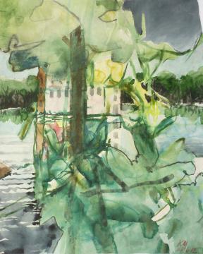 Niederrhein V, 2012, Gouache, Acryl und Farbstift auf Papier, 31 x 24,7 cm