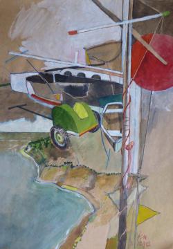 Howacht, 2012, Gouache, Acryl und Farbstift auf Papier, 31 x 22 cm