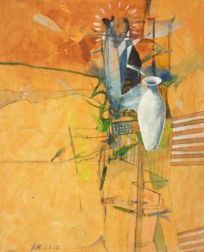 Wahlvase, 2012, Gouache, Acryl und Farbstift auf Papier, 31 x 24,7 cm