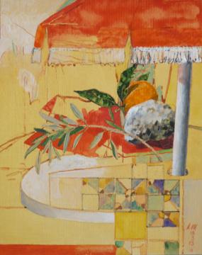 Sizilien 13, 2013, Gouache und Farbstift auf Papier, 31 x 24,7 cm