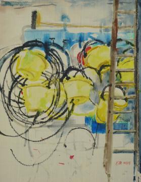 Sizilien 15, 2013, Gouache und Farbstift auf Papier, 31 x 24,7 cm