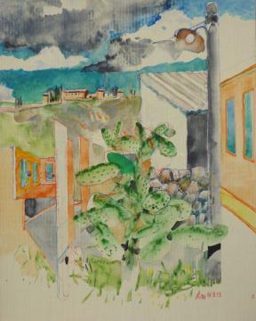 Sizilien 2, 2013, Gouache und Farbstift auf Papier, 31 x 24,7 cm