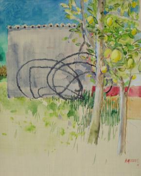 Sizilien 4, 2013, Gouache und Farbstift auf Papier, 31 x 24,7 cm
