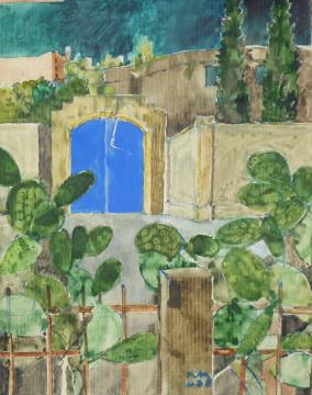 Sizilien 5, 2013, Gouache und Farbstift auf Papier, 31 x 24,7 cm