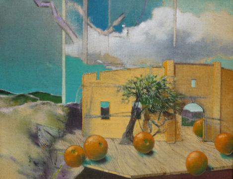 Bühnenbild, 2013, Acryl auf Leinwand, 70 x90 cm