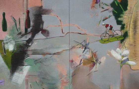 Radler, 2014, Acryl auf Leinwand, 90x 140 cm