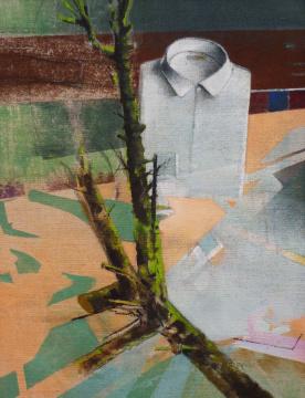 Hemd, Ast, …, 2014, Acryl auf Leinwand, 90 x 70 cm