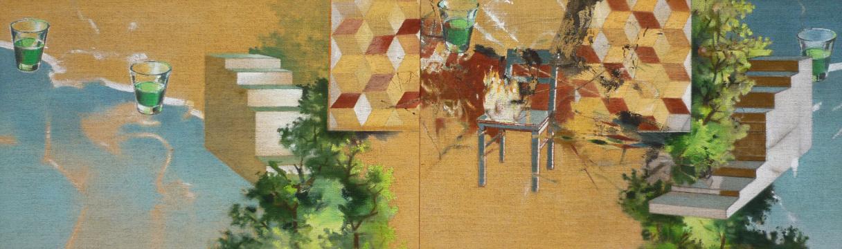 Vier Elemente, 2014, Acryl auf Leinwand, 55 x 180 cm