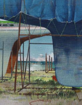 Freilager, 2015, Acryl auf Leinwand, 70 x 55 cm