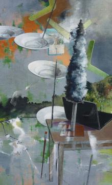 Gesendet, 2015, Acryl auf Leinwand, 180 x 110 cm