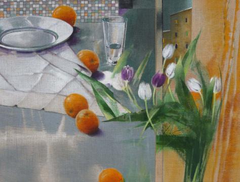 Tulpen, Orangen, 2015, Acryl auf Leinwand, 90 x 120 cm